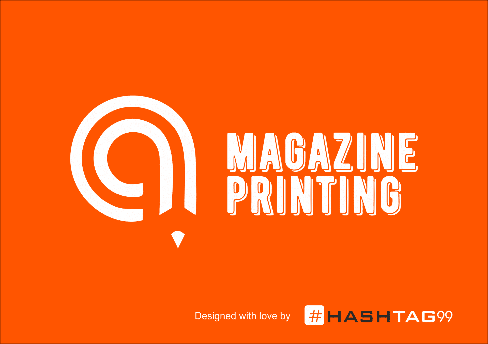 Magazine printing logo design orange